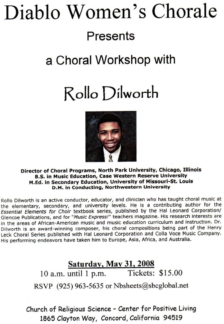 Choral Workshop with Rollo Dilworth at Church of Religious Science, Concord, CA (May 31, 2008)